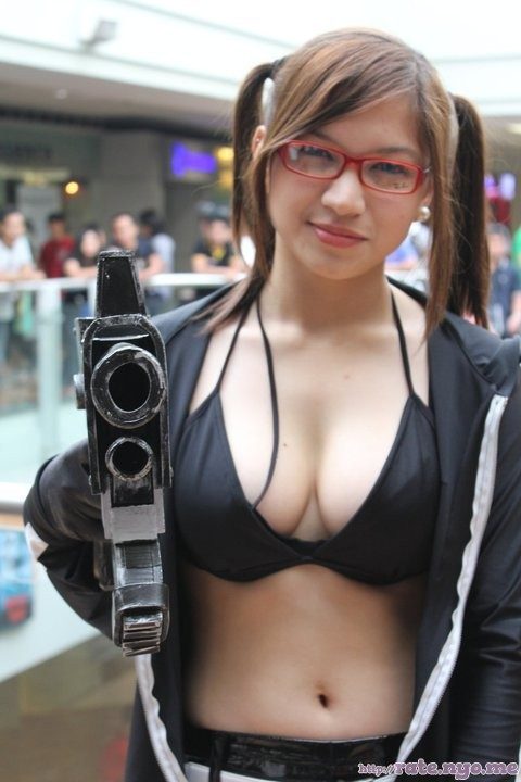 breasts cleavage cosplay filipina glasses midriff non-celebrity pigtails