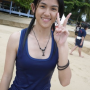 beach chinese malaysian non-celebrity peace_sign smiling wet