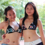 armpits bikini breasts dimples hand_on_waist malaysian midriff non-celebrity shorts two_girls