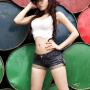 armpits breasts cleavage daisy_dukes elly_tran_ha hand_on_waist hat legs midriff shorts thighs vietnamese