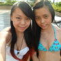 bikini breasts malaysian midriff non-celebrity one-piece selfshot smiling two_girls