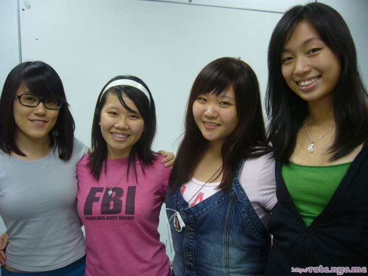 breasts four_girls glasses malaysian non-celebrity smiling