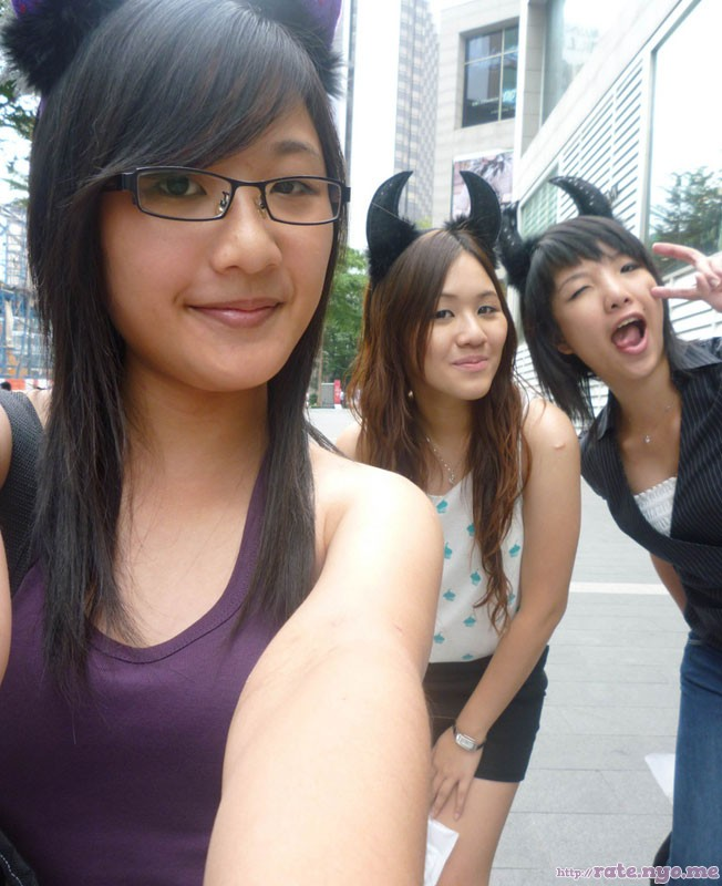 breasts glasses malaysian non-celebrity selfshot three_girls tongue_out