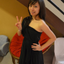 breasts dress hand_on_waist legs malaysian non-celebrity peace_sign smiling standing