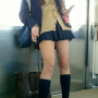 cardigan full_body japanese leather_shoes legs non-celebrity scarf schoolgirl skirt socks standing thighs