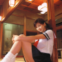 aki_hoshino butt full_body japanese legs pigtails schoolgirl sitting skirt socks thighs