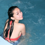 back bikini breasts filipina non-celebrity pool shoulders wet