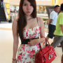 breasts dress legs malaysian non-celebrity pouting shoulders sleeveless standing