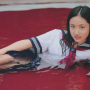 japanese legs lying_down on_side saaya_irie schoolgirl skirt smiling thighs wet