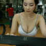 breasts cleavage exercising non-celebrity shoulders thai thighs