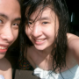 chinese filipina non-celebrity selfshot shoulders smiling towel two_girls wet