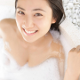 bathing bathtub breasts bubbles cleavage japanese saaya_irie shoulders smiling wet