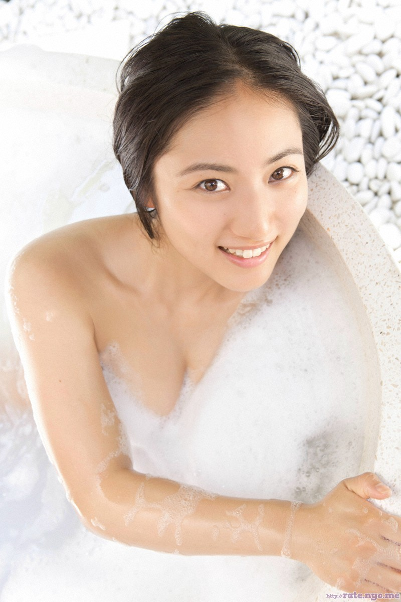 bathing bathtub breasts brown_eyes bubbles cleavage japanese saaya_irie shoulders smiling wet