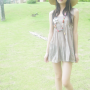 dress feet full_body hat korean legs non-celebrity short_dress shoulders sleeveless slippers standing thighs