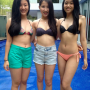 bikini breasts chinese filipina legs midriff non-celebrity pool shorts shoulders smiling standing thighs three_girls