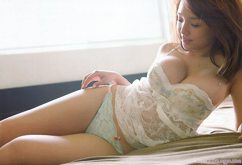 ai_shinozaki bed bra breasts cleavage japanese legs lingerie lying_down midriff on_side panties see-through shoulders smiling thighs