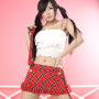 armpits hand_on_waist korean midriff pigtails ryu_ji_hye shoulders skirt thighs tube_top