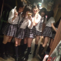 four_girls full_body japanese legs non-celebrity peace_sign pigtails pouting schoolgirl selfshot skirt socks standing thighs