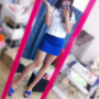 feet full_body japanese legs selfshot skirt slippers standing stewardess thighs