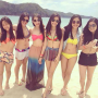 bikini breasts feet filipina full_body legs midriff non-celebrity shorts six_girls smiling standing sunglasses thighs