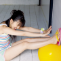 erina_mano feet full_body japanese legs shorts shoulders sitting sleeveless slippers smiling thighs
