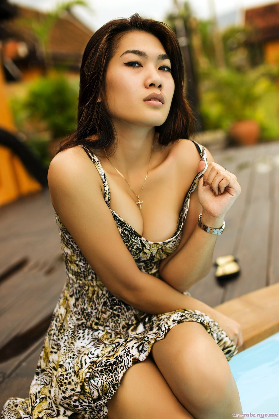 breasts cleavage dress filipina legs shoulders sitting