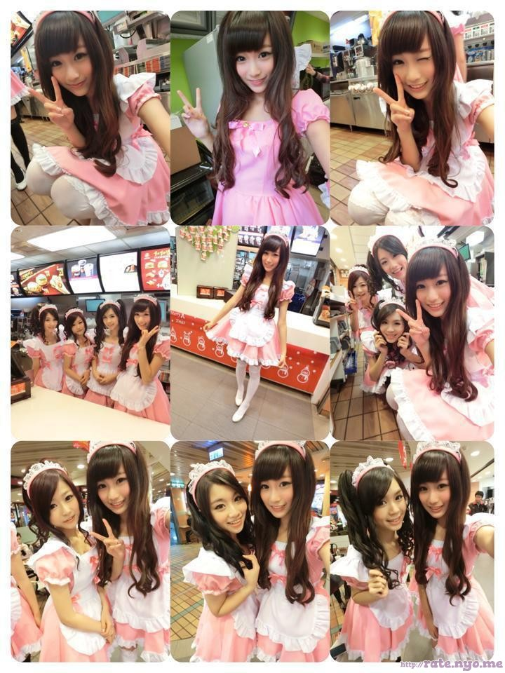 cosplay dimples dress four_girls hair_ornament maid non-celebrity peace_sign selfshot sitting smiling standing taiwanese winking