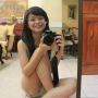 filipina legs non-celebrity selfshot shorts shoulders sitting sleeveless smiling thighs