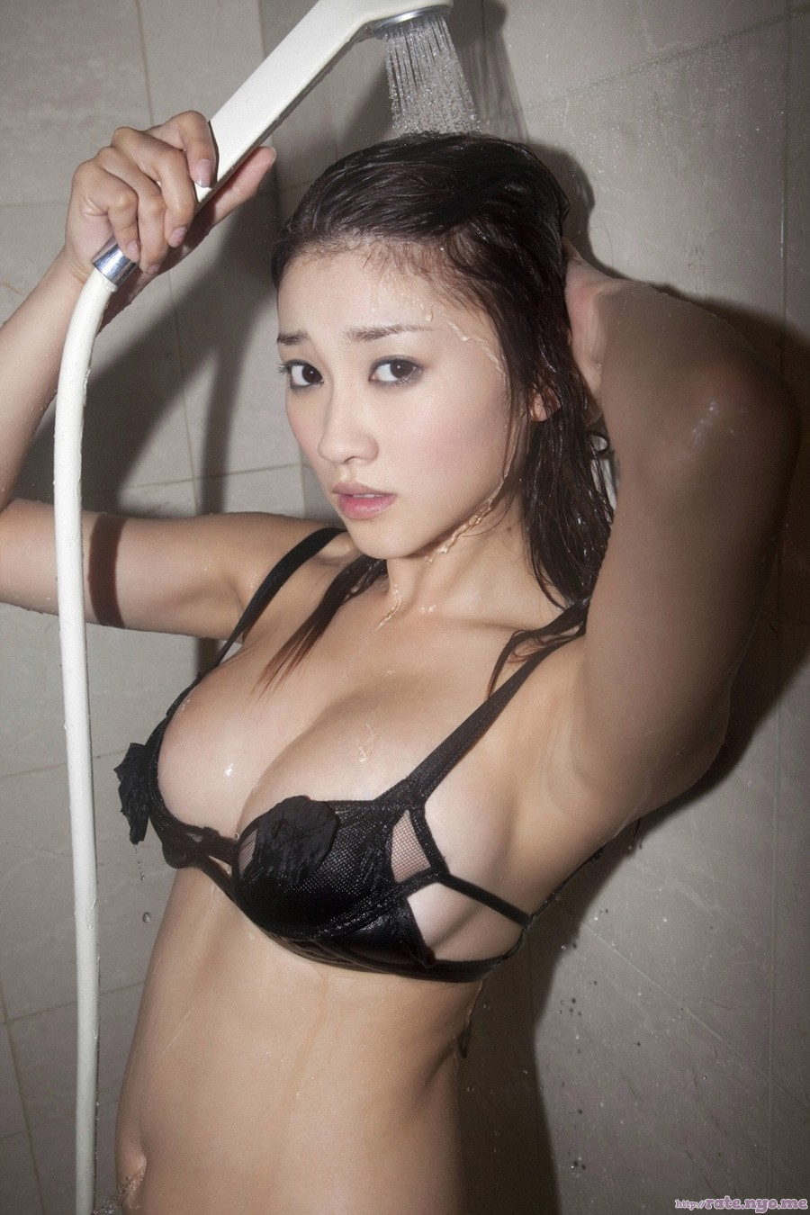 armpits bra breasts cleavage japanese midriff mikie_hara shoulders wet