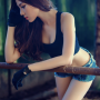 breasts cleavage gloves leaning legs midriff shorts shoulders sleeveless thighs vietnamese