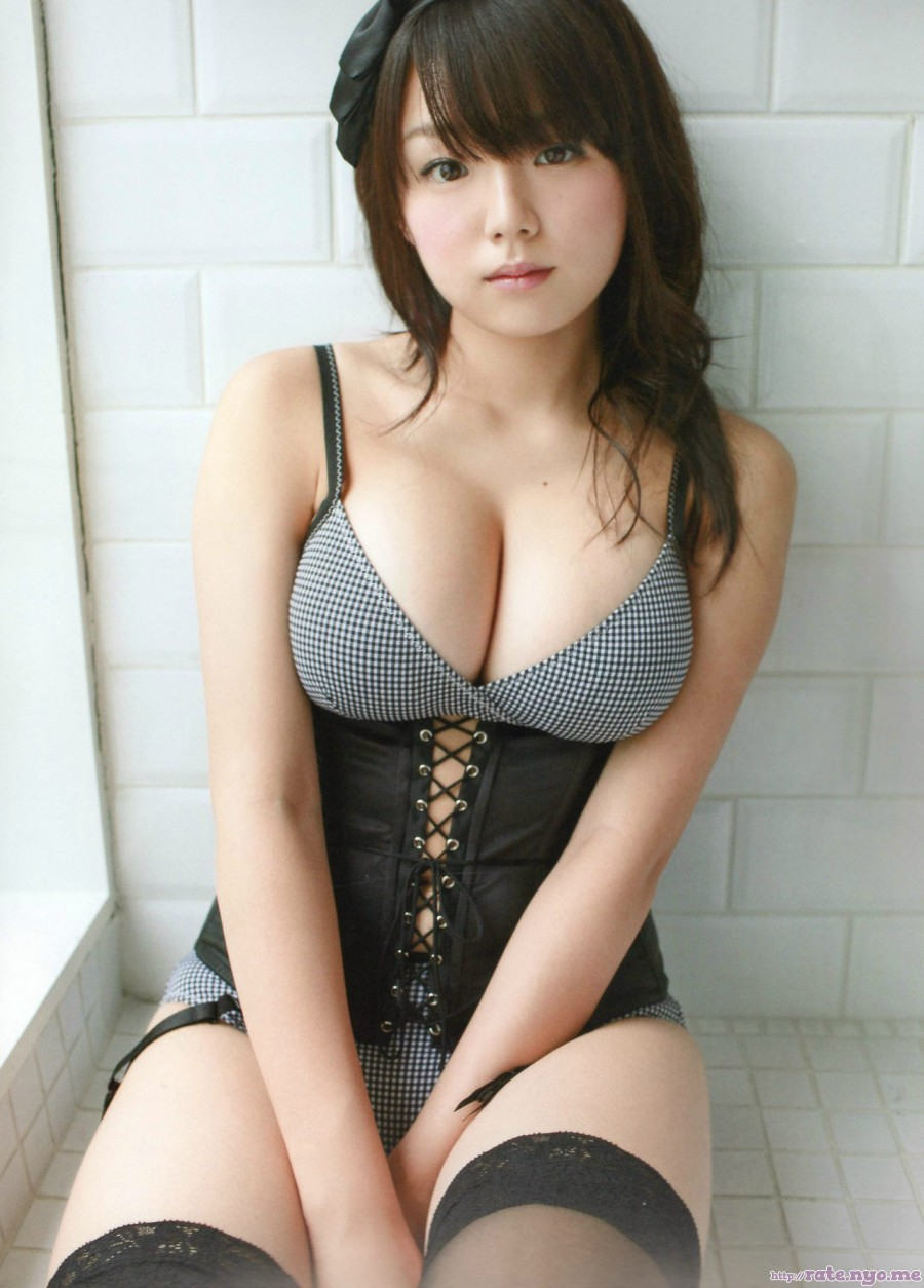 ai_shinozaki breasts cleavage japanese shoulders sitting sleeveless stockings thighs