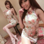 armpits breasts cheongsam feet full_body legs shoulders sitting taiwanese thighs two_girls