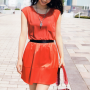 dress japanese legs maki_horikita shoulders sleeveless smiling standing