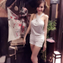 breasts elly_tran_ha high_heels legs shorts sleeveless smiling thighs vietnamese