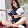 elly_tran_ha glasses legs pouting reading schoolgirl sitting skirt thighs vietnamese