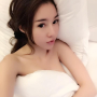 bed elly_tran_ha lying_down pouting shoulders vietnamese