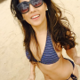beach bikini breasts filipina legs midriff non-celebrity selfshot smiling sunglasses thighs