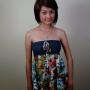 dress filipina full_body non-celebrity shoulders sleeveless smiling standing