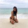 beach bikini filipina full_body kneeling legs midriff non-celebrity shoulders thighs