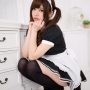 full_body japanese legs maid pigtails squatting thighs zettai_ryouiki