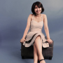cross-legged filipina full_body non-celebrity shoulders sitting sleeveless smiling
