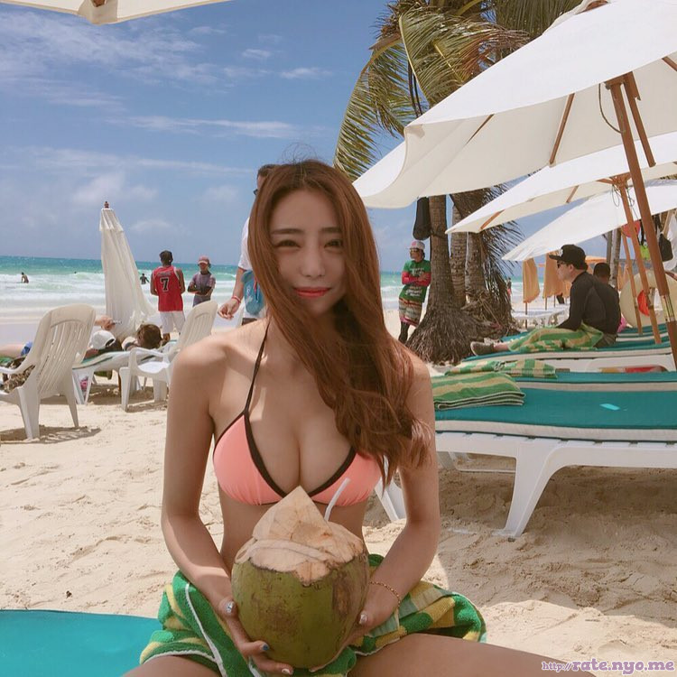 beach bikini breasts cleavage korean shoulders sitting thighs