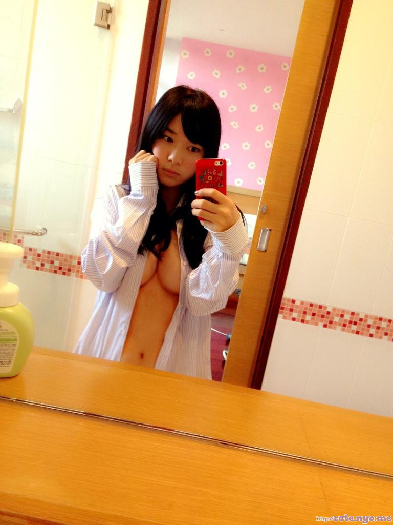 breasts cleavage japanese midriff open_shirt selfshot tomoe_yamanaka