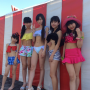 5_girls bikini feet full_body hat japanese legs midriff peace_sign shorts shoulders standing thighs tina_nakamura