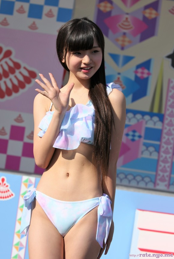 bikini breasts japanese midriff shoulders smiling standing thighs tina_nakamura waving