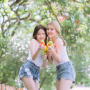 non-celebrity pigtails shorts shoulders sleeveless thai thighs two_girls