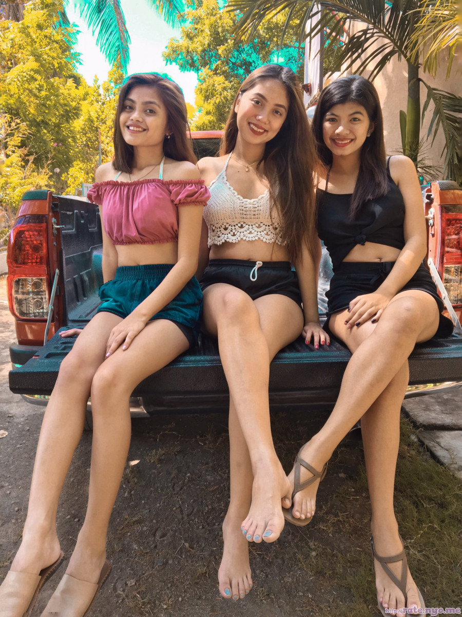 breasts feet filipina full_body legs midriff non-celebrity shorts shoulders sitting smiling thighs three_girls