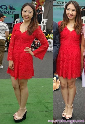 chinese dress feet hand_on_waist legs non-celebrity smiling
