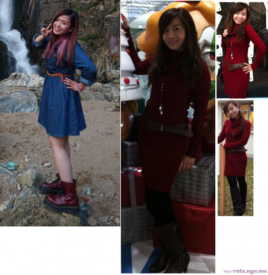 boots chinese dress full_body hand_on_waist legs non-celebrity peace_sign smiling