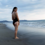 back beach feet filipina full_body legs non-celebrity one-piece thighs